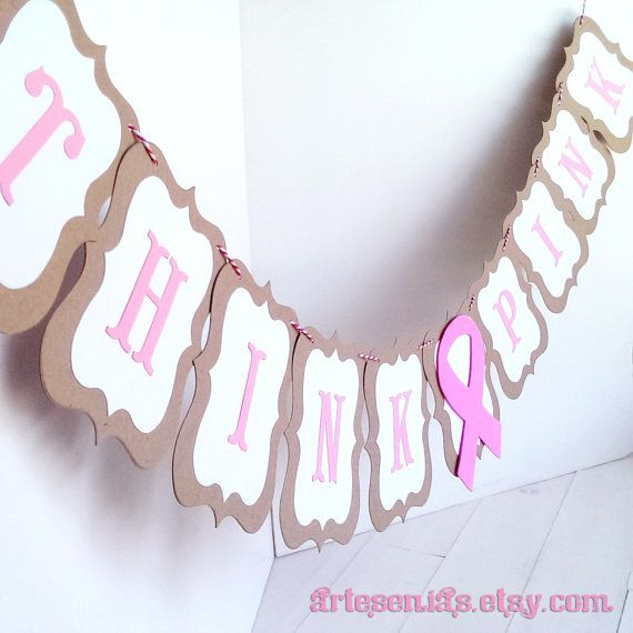 Think pink ribbon banner just in time for your breast cancer awareness event planning or hang one in the office over a donation collection box for a breast cancer research foundation! artesenias.etsy.com