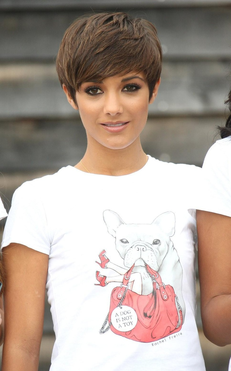 Frankie Sandford. Obsessed with her short brown pixie hair.