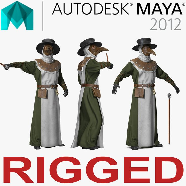 3D Plague Doctor Rigged for Maya