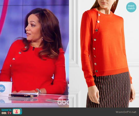 Sunny's red button embellished sweater on The View.  Outfit Details: https://wornontv.net/85674/ #TheView