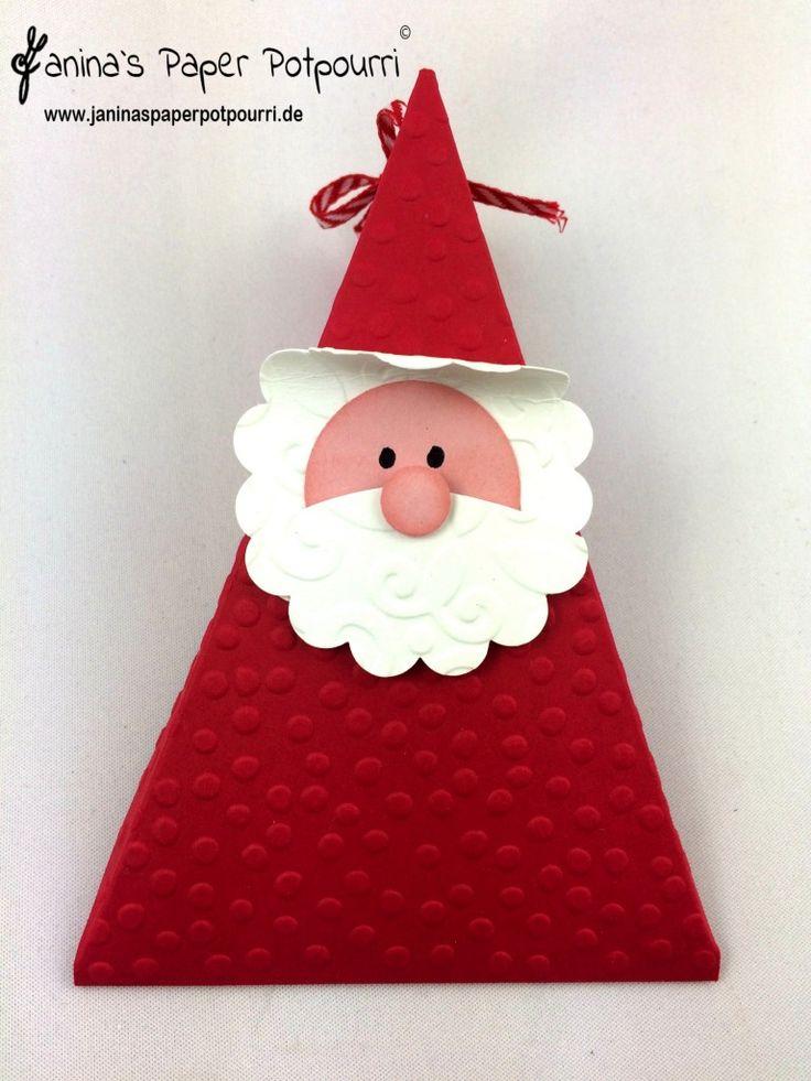jpp - Santa Triangle Box / Weihnachtsmann Verpackung / Nikolaus Dreieck / Stampin' Up! Berlin  www.janinaspaperpotpourri.de