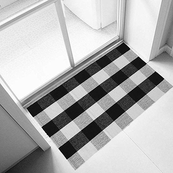 Ukeler 100 Cotton Plaid Rugs Black White Hand Woven