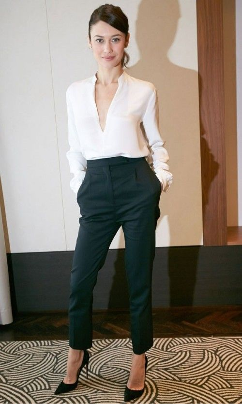 Work attire; classic; black high-rise cigarette pant and white deep v-neck blouse; chic; professional