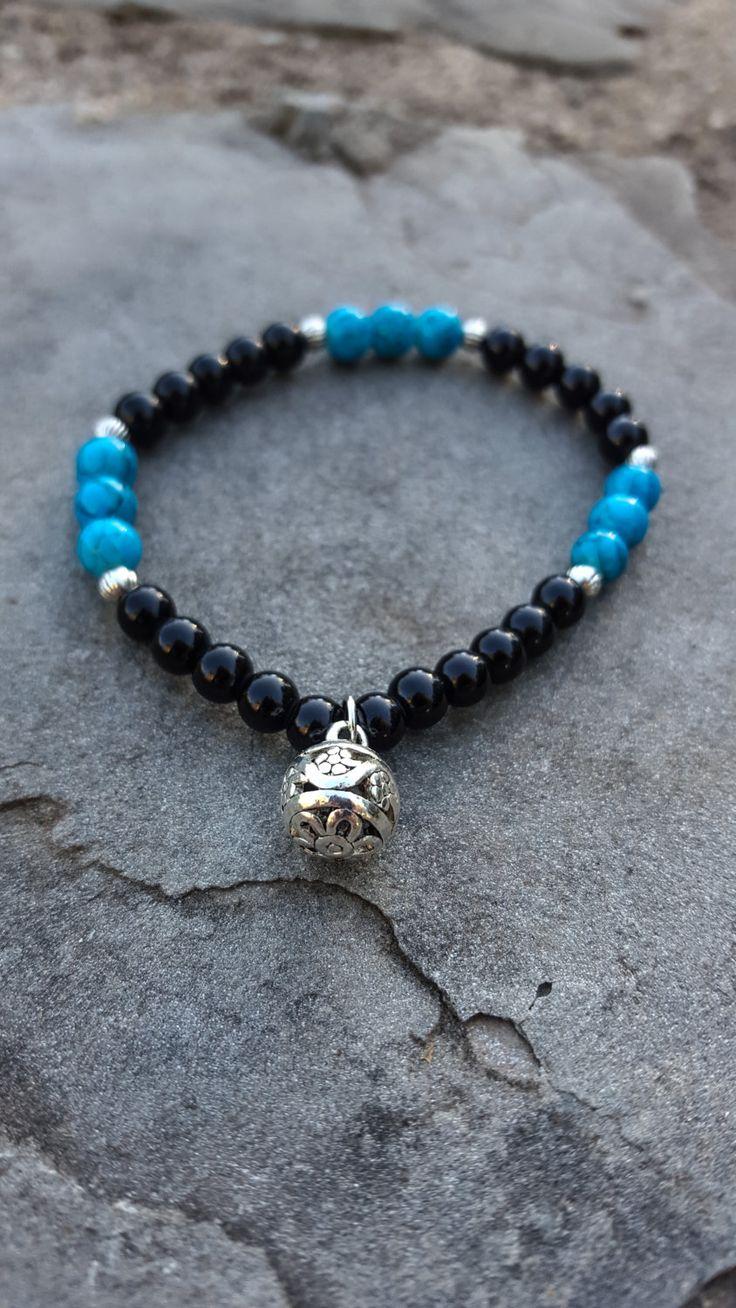 Bracelet Perle | Bleu | Breloque | Pendentif | Noir | Fleur | Été | Plage | Chic…