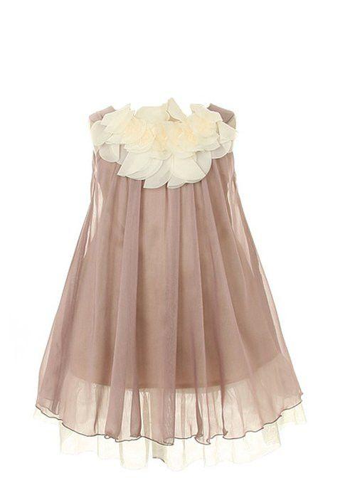 Kid's Dream Girl's Lovely Silk Chiffon Girl Dress (Mocha)