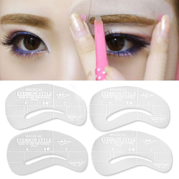 Hot Sale! 4 styles/set Grooming Stencil Kit Shaping DIY Beauty Eyebrow Template Make Up Tool 24 setyles 131-0217 #clothing,#shoes,#jewelry,#women,#men,#hats,#watches,#belts,#fashion,#style