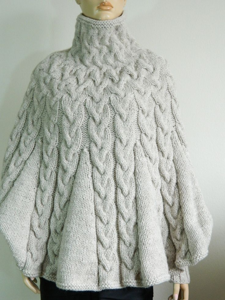 Hand Knit Turtleneck Poncho with sleeves from Alpaca by tvkstyle