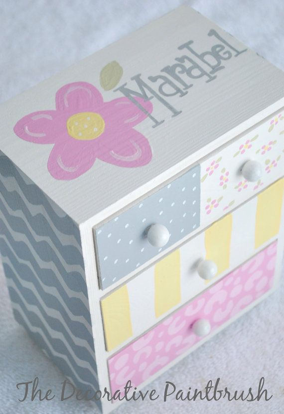 Painted Jewelry Box Personalized Gift Flower by TheDecorativeBrush, $26.00