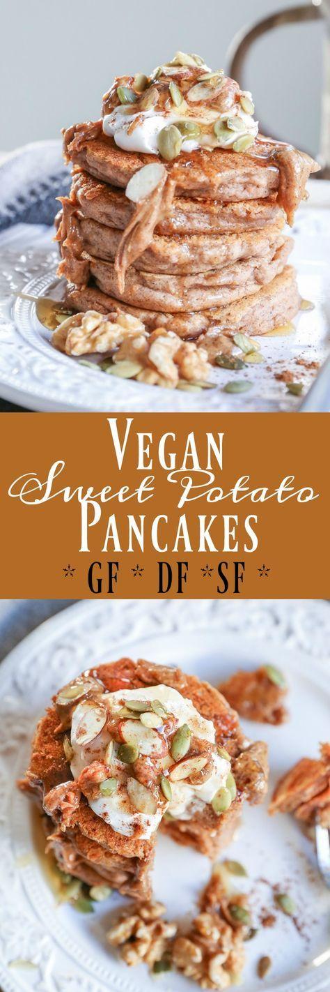 Vegan Sweet Potato Pancakes - gluten-free pancakes made in your blender
