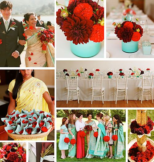 Teal and Red Wedding