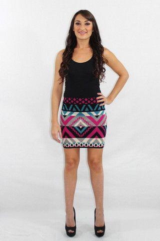 The High Life Aztec print knit mini skirt $45.00 Available at The Laguna Room www.thelagunaroom.com