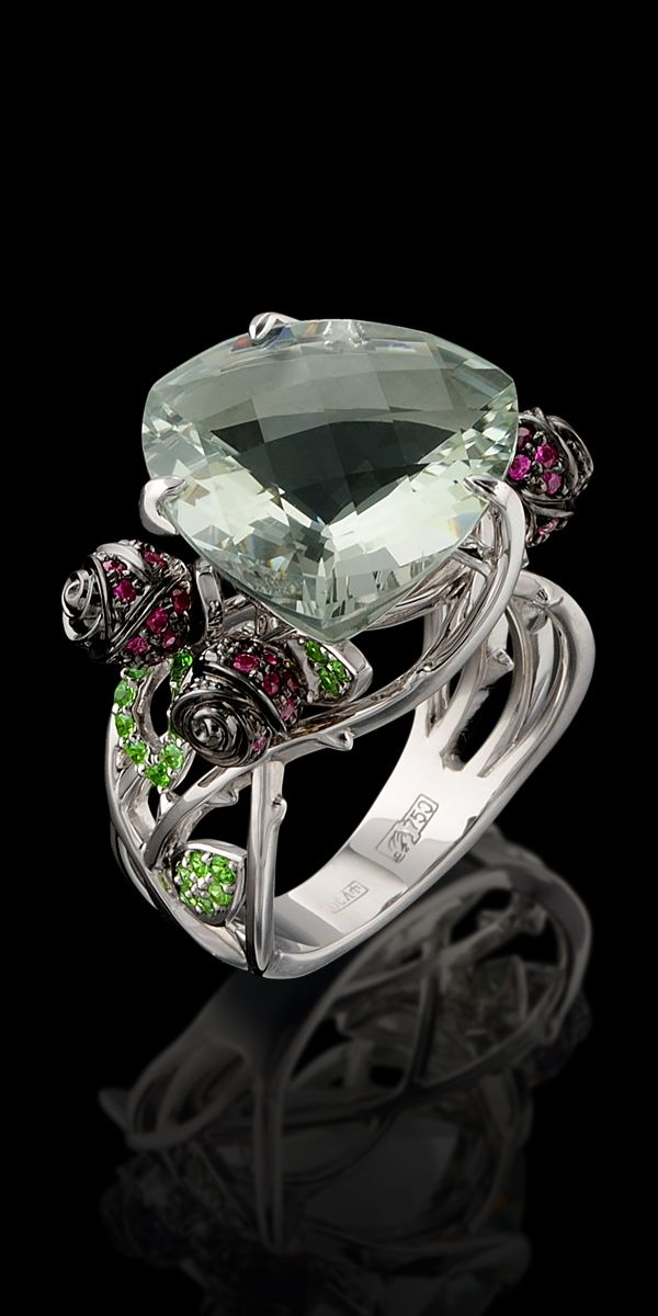 Master Exclusive Jewellery - Collection - Bouquet of love White gold,prazeolite,rubies,diamantoids