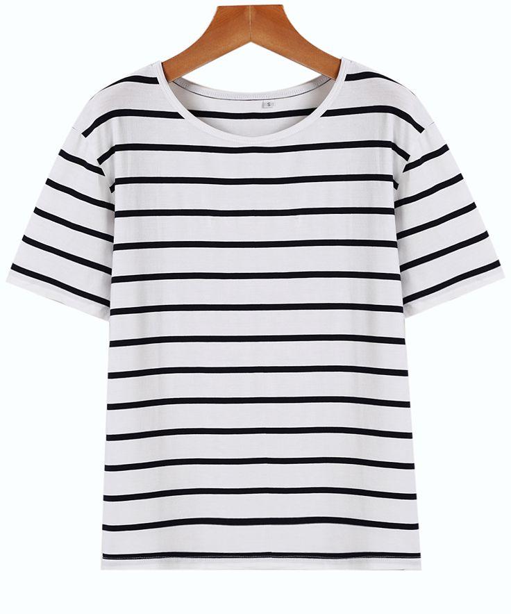 Shop Navy White Short Sleeve Stripe Oversized Tee online. Sheinside offers Navy White Short Sleeve Stripe Oversized Tee & more to fit your fashionable needs. Free Shipping Worldwide!