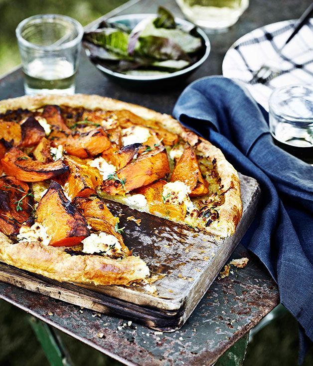 Pumpkin, goat cheese, and thyme tart