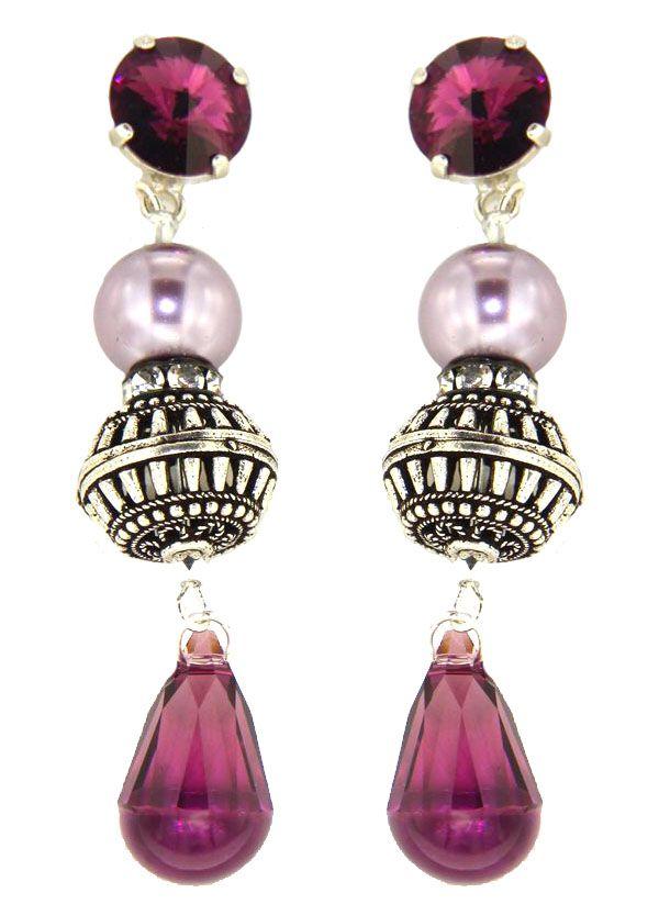 PEZZO UNICO -  Bottone  in cristallo Swarovski, perla Swarovski, elemento in argento lavorato a mano, e pendente Swarovski