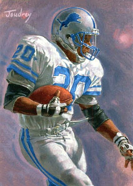 Easily one of the 3 best RBs ever. A legend on the field. A father off of it.  Barry Sanders, Detroit Lions by Ken Joudrey, 2008