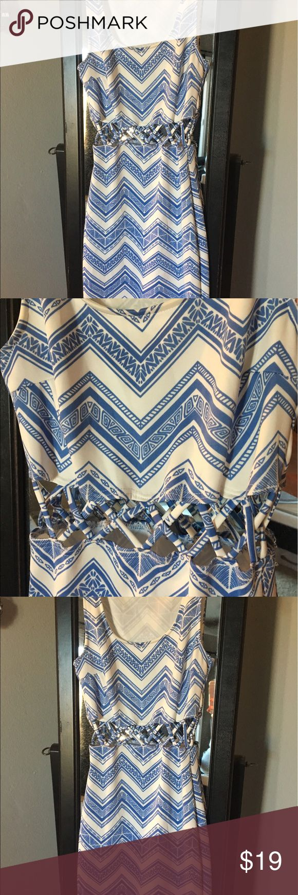 Cutout dress XS SOPRANO bodycon dress with cutout detail. Blue and white tribal design. Stretchy fabric. Soprano Dresses Mini