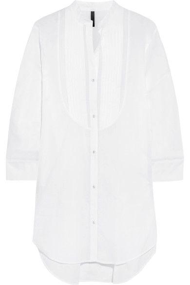 Elle Macpherson Body - Pintucked Cotton-poplin Pajama Shirt - White - large