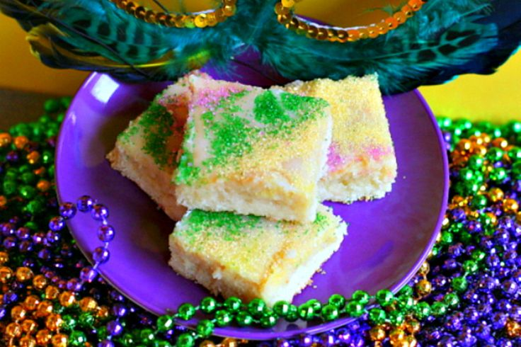 These bars meet all King Cake flavor requirements, but are simpler to make and to serve.