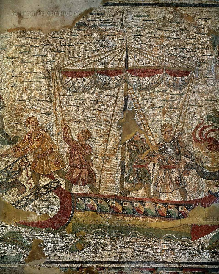 Charging and discharging wild animals on a ship. Detail of the Big Game Hunt, mosaic (3rd-4th CE) in the ambulatory of the Villa del Casale, Piazza Armerina, Sicily, Italy.