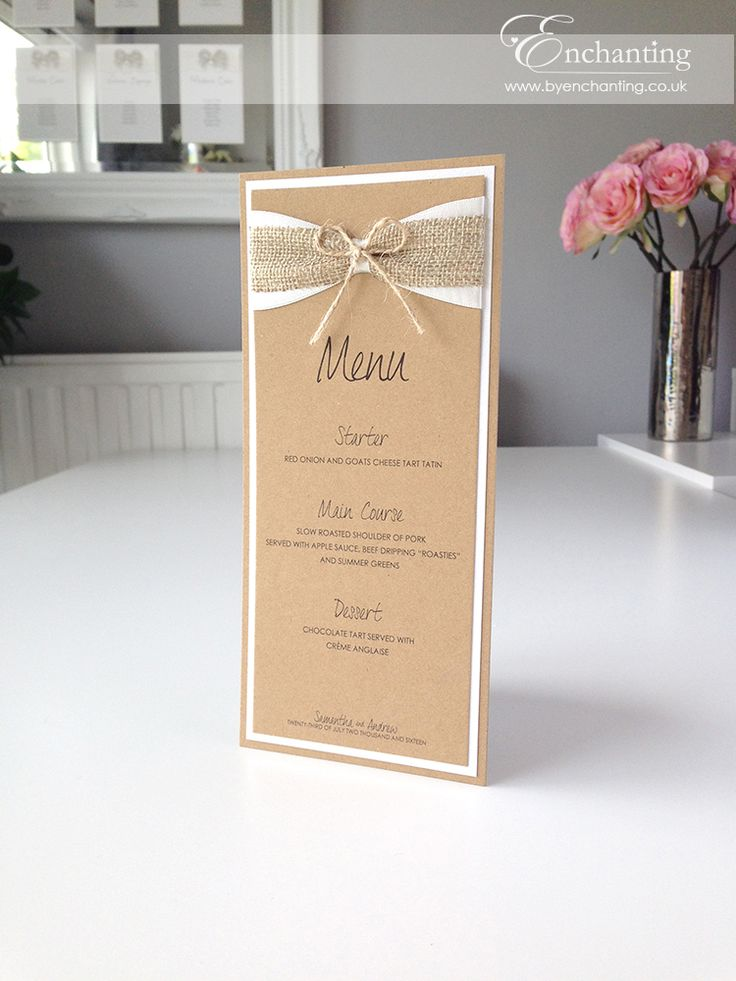 Rustic wedding hessian twine | The Goldilocks Collection - Wedding Menu…