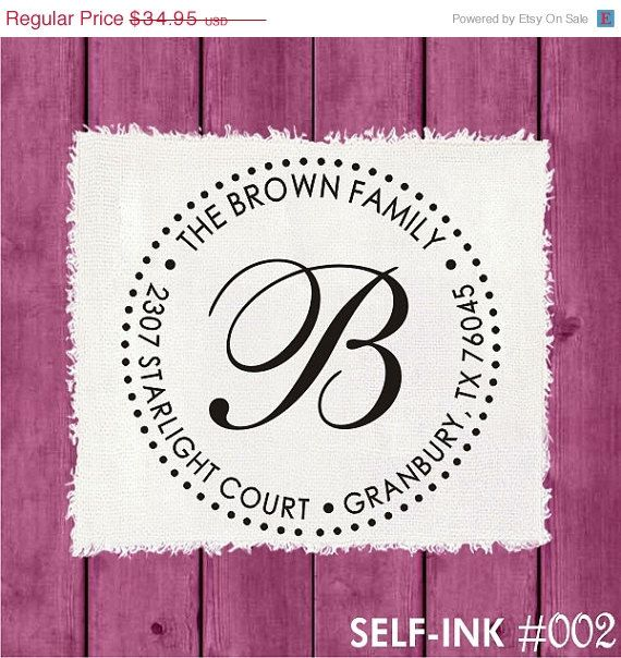 ON SALE - RETURN Address Stamp, monogram address stamps, personalized wedding gift, self-inking address rubber stamp (002) on Etsy, $27.95