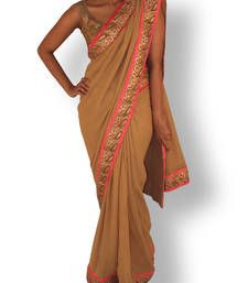 Buy Cream  georgette saree with blouse shimmer-saree online