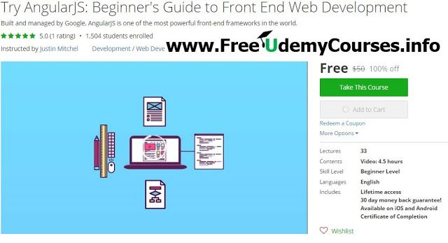 [#Udemy 100% Off] Try #AngularJS : Beginner's Guide to Front End Web Development   About This Course  Published 10/2016English  Course Description  If the internet was created today AngularJS's core functionalitieswould have been built-in on day one. That