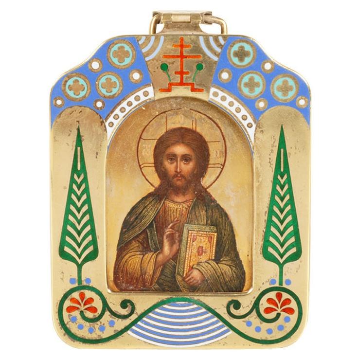 OVCHINNIKOV Russian enamel Icon of Christ Pantocrator
