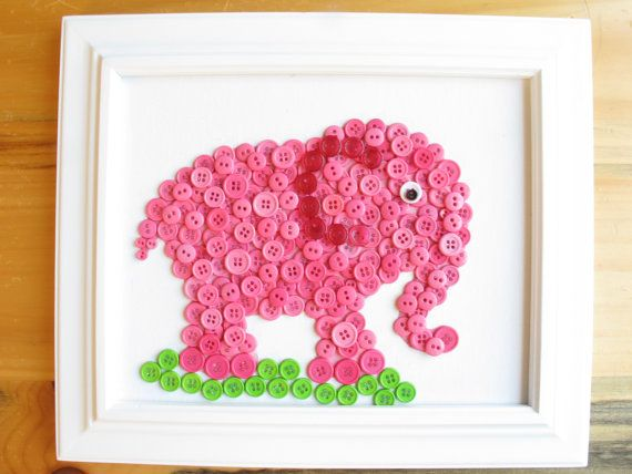 Elephant Button Animal Pink Canvas Panel 8x10 by HydeParkHome, $25.00