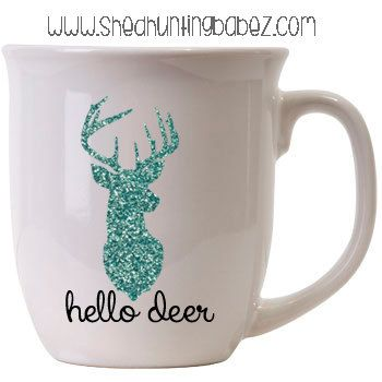 Teal Hello Deer Glitter Coffee Mug // by shedhuntingbabez on Etsy