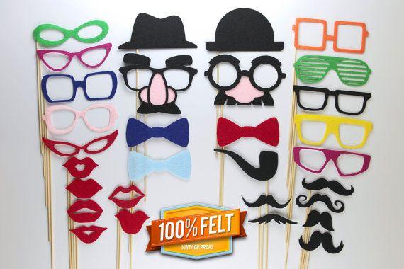 Moustache Props  30 Piece Felt Premium Moustache by PhotoBoothProp, $39.00