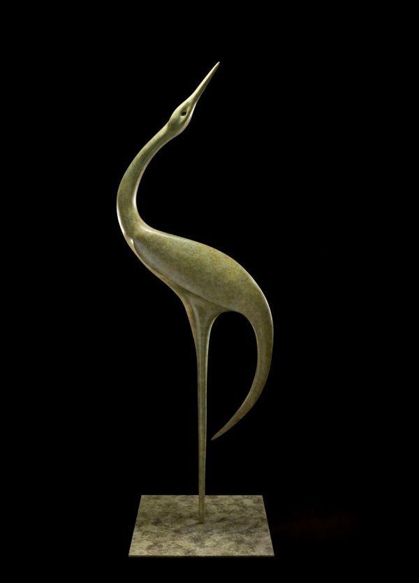 Bronze Birds Sculptures Or Statue By Artist Simon Gudgeon Titled: U0027Geranos  1 (Modern Contemporary Abstract Stylised Wader Crane Statue)u0027