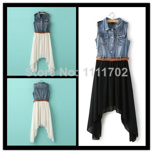 Fashion Clothing New Summer 2014 women's Denim Irregular Hem Sleeveless Chiffon Dress With Belt Casual Women Dress Wholesale