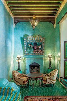 Emerald green aqua turquoise boho gypsy interior