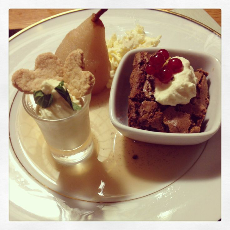 Trio of Desserts ... Poached Pears, Lemon Posset with Heart shaped shortbread biscuits and Chocolate Brownie with homemade Vanilla Ice-Cream.