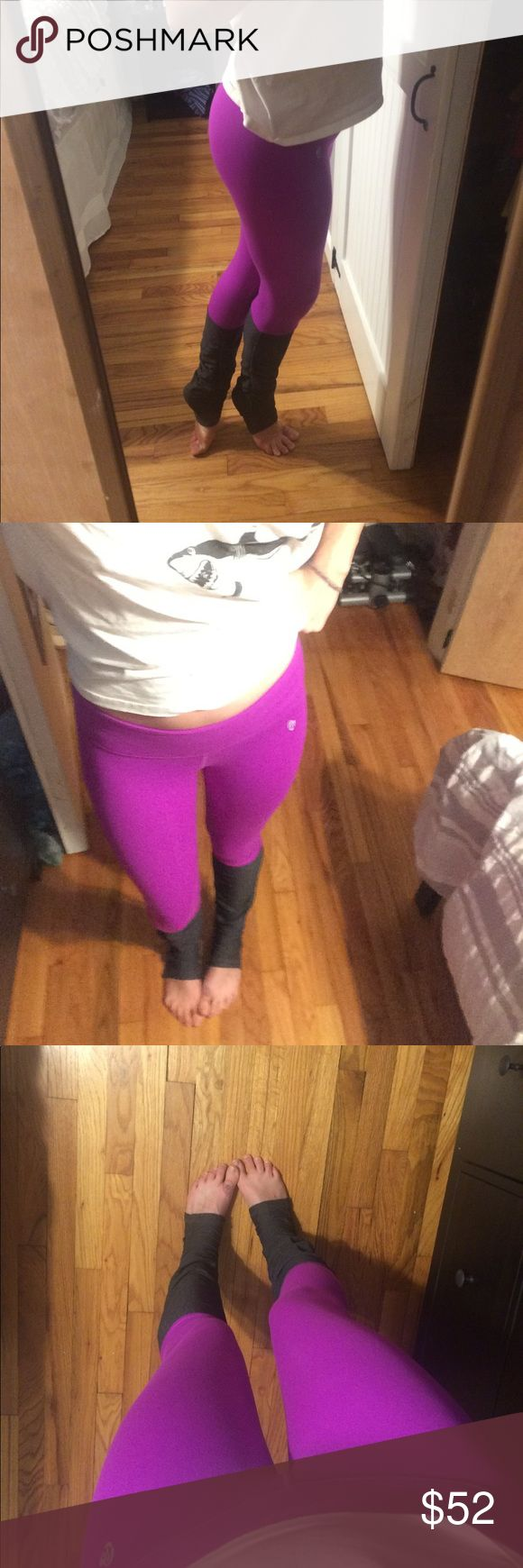 """Ellie activewear bright purple leggings goddess S Bright purple leggings with dark gray cinched bottoms- these are similar to Alo yoga's """"goddess"""" leggings. Fit is spectacular and so comfortable! Perfect for any workout especially barre and yoga! These were worn and washed once, in excellent condition. ellie Pants Leggings"""