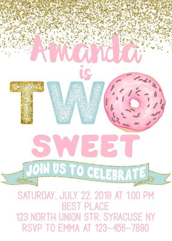 Two Sweet Donut Birthday Invitation
