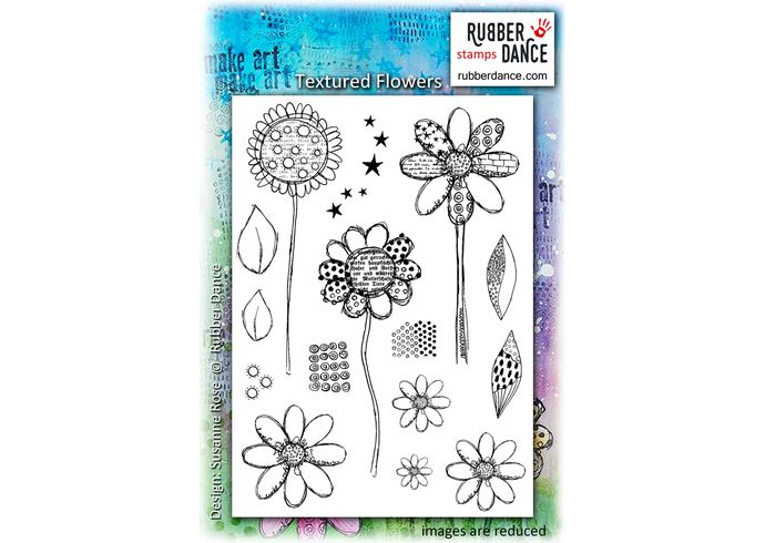 Textured Flowers. Sheet of UN-mounted, red rubber stamps. 13 x 18 cm (5 x 7 inches).  Use the small pattern stamps to add more texture to your backgrounds.