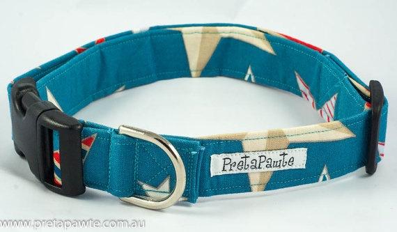 Dog Collar Teal star Dog Collar by PretaPawte on Etsy, $22.00