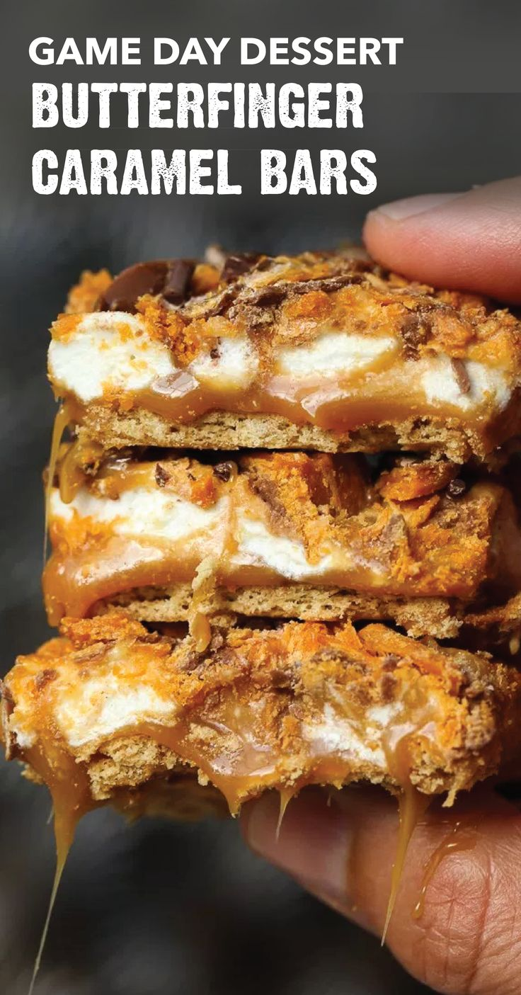 Take a look at these ooey gooey Butterfinger Caramel Bars. This crispety, crunchety, peanut-buttery recipe is sure to be the MVP of your game day dessert table. Combine BUTTERFINGER® Bites candy bars with graham crackers, caramel, mini marshmallows, and chocolate to create this fan-favorite tailgating treat.