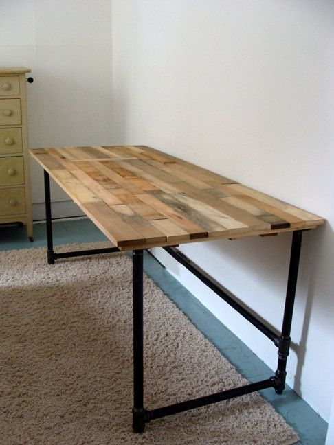 Diy Wooden Desk ~ Salvaged wood and pipe desk by riotousdesign on etsy
