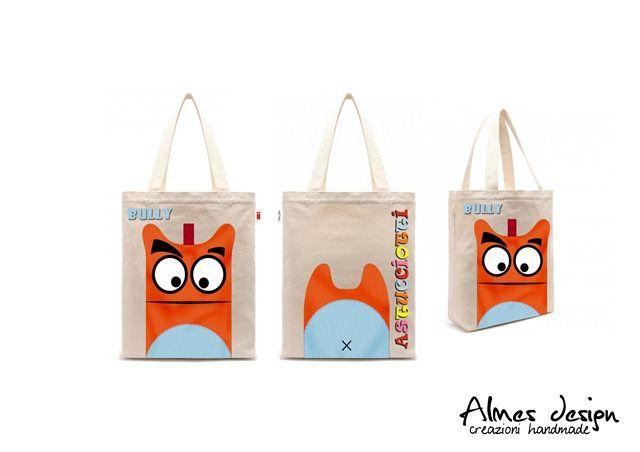 shopper bag- shopper with print - astucciotti - almesdesign - handmade -