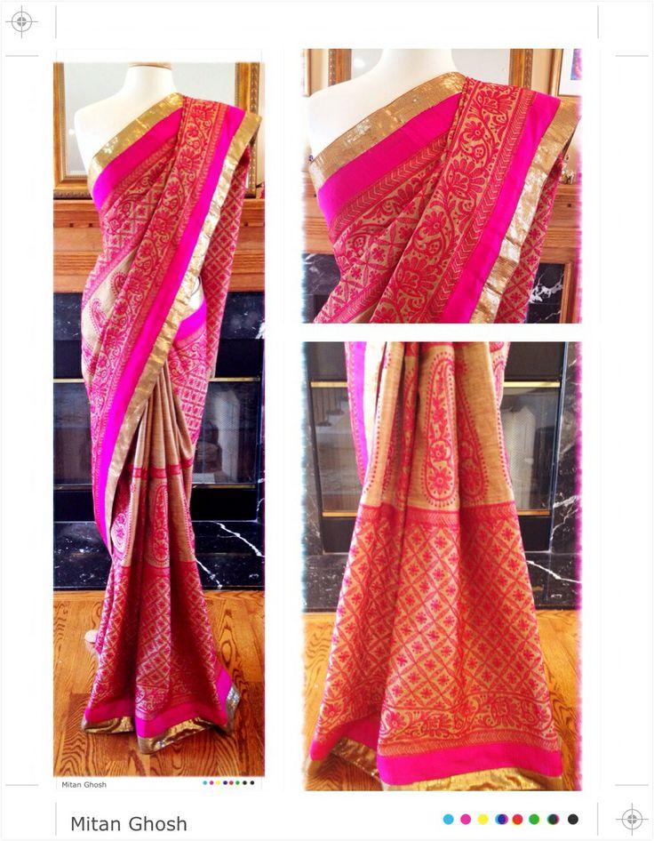 Lucknowi saree in shimmer tassar.
