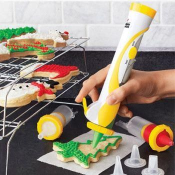 The cake decorating pen is ideal for use with Fondant Cakes, sugar paste, petal paste, DIY cooking or craft clays. Take them to decorate your sweety cooking products. Simply fill the pen with chocolate, push the plunger and squeeze to wr...