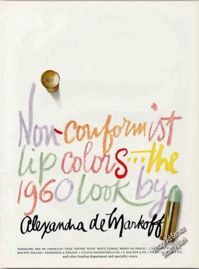 Vintage Make-Up Ads: Non-conformist Lip Colors Alexandra De Markoff (1960): Lipsticks Colors, Lipsticks Ads, Alexandra De, Vintage Ads, De Markoff, Lips Colors, Ads Makeup, Cosmetics Lipsticks, 1960