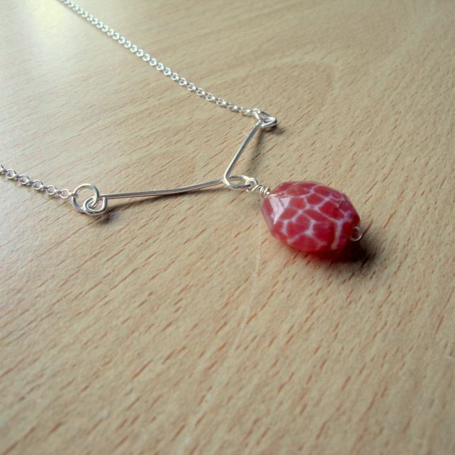 Sterling Silver and Crab Fire Agate Pendant Necklace