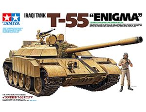 The Tamiya T-55 Enigma Iraqi Tank in 1/35 scale is a plastic model kit in the Tamiya 1/35 Military range.    If you require paints, glues and modelling accessories for this model they can be found here:        Tamiya Acrylic Paints      Tamiya Spray Paints      Glues    The T-54/55 series of tanks were developed by the former Soviet Union in the period after WWII and many were exported due to their reliable performance.
