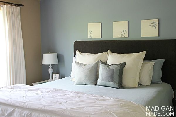 Simple master bedroom d cor ideas love the blue brown for Simple master bedroom designs pictures