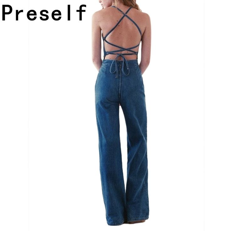 Preself Jumpsuit Women Denim Sleeveless Sexy Backless Cross Lace Up Wide Loose Leg New Rompers Vintage Playsuit Romper Plus Size